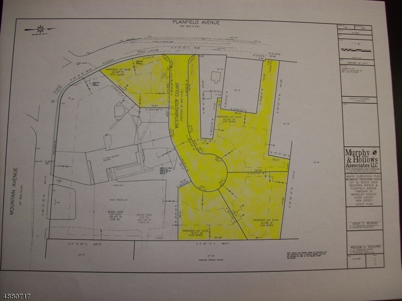 Land / Lots for Sale at 725 MOUNTAIN AVE 725 MOUNTAIN AVE Berkeley Heights, New Jersey 07922 United States