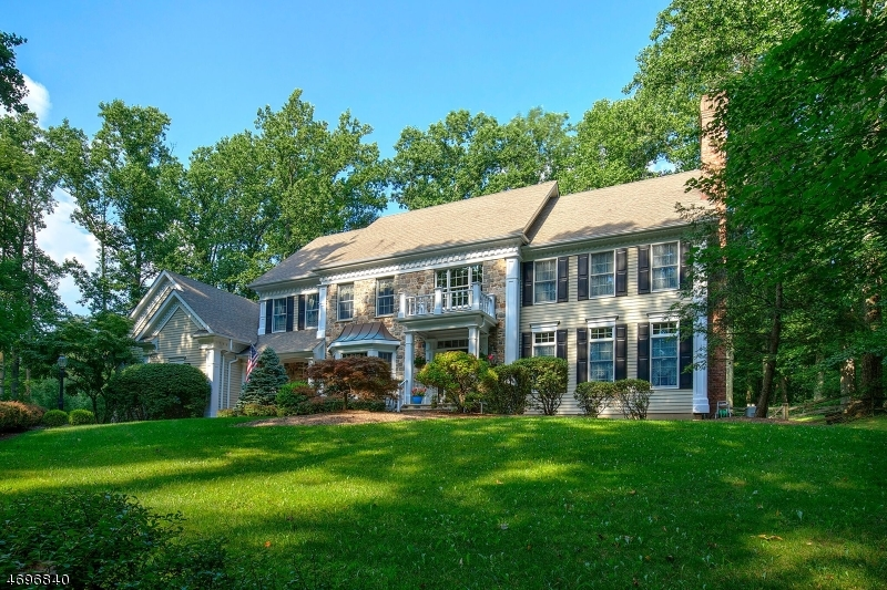 Stone-accented Colonial on 3 pastoral acres w/park-like views, mature trees, stone walls. Regal architecture inspired by traditional Bucks County homes seen in the Pennsylvania countryside. Bocina-built in 1998 w/open concept floor plan of approx. 4,600 square feet, 5 bedrooms, 3 full & 2 half baths. Set at end of a cul de sac, minutes from I-78. Long drive approach w/lighted stone pillars leads to stately columned entry. Richly-detailed interior offers high ceilings, oak hardwood floors, two fireplaces, chef's kitchen, luxury master suite and guest suite, (2015) 22kw Generac whole-house generator. Tiered deck w/hot tub enhances the serene setting.