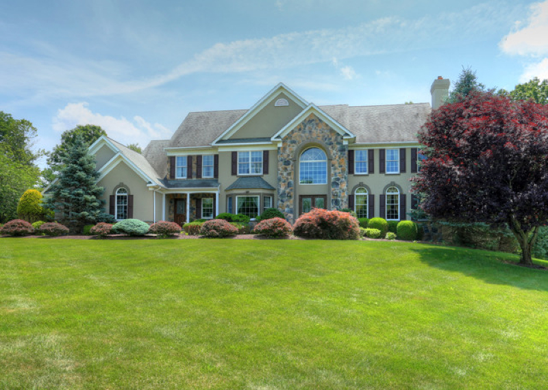 Stone pillar entry leads to Magnificent (3800 sqft ) 1995 built/2007 renovated, Part Stone Front Colonial  set on 1.3+ resort-like acs in neighborhood of homes,min from I-78.2 story marble floor foyer Brazil/cherry wd thru-out,sky-lit tower great rm w/wdw walls to cover/pavilion w/ Braz/redwood ceil & paver flrs.Featured in NJ Design Mag in 2006 gourmet kitch,corbel & beaded board,glazed maple cabs & center island,granite cntrs,Fisher-Paykel & Viking applncs.1st lvl den,tray ceil master w/radiant travertine flr bath w/double sink vanity & travertine tiled shower.tray ceiling bonus rm.Approx (900 sqft)fin lwr lvl w/wet bar.(2000) 20'x50' gunite,heated,in-ground pool, patio,cstm fence,stone gazebo/cabana,multi-lvl patios & stone retain/wall.