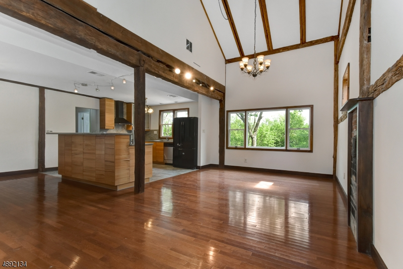 Family Room with original barn beams exposed