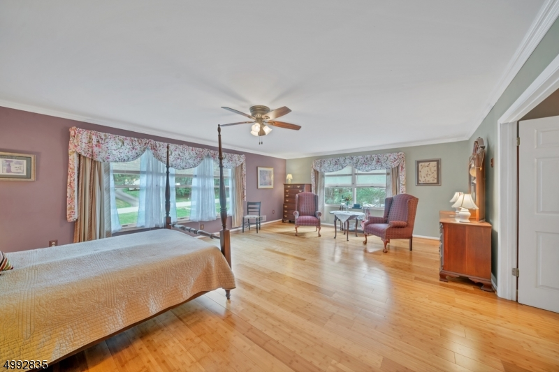 The large primary suite on the second level was part of the newer addition to the home.