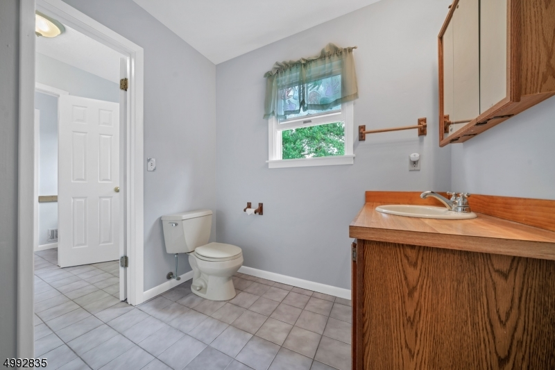 The hallway bath connects to the primary bath tub/shower creating a Jack & Jill bath with tile flooring.
