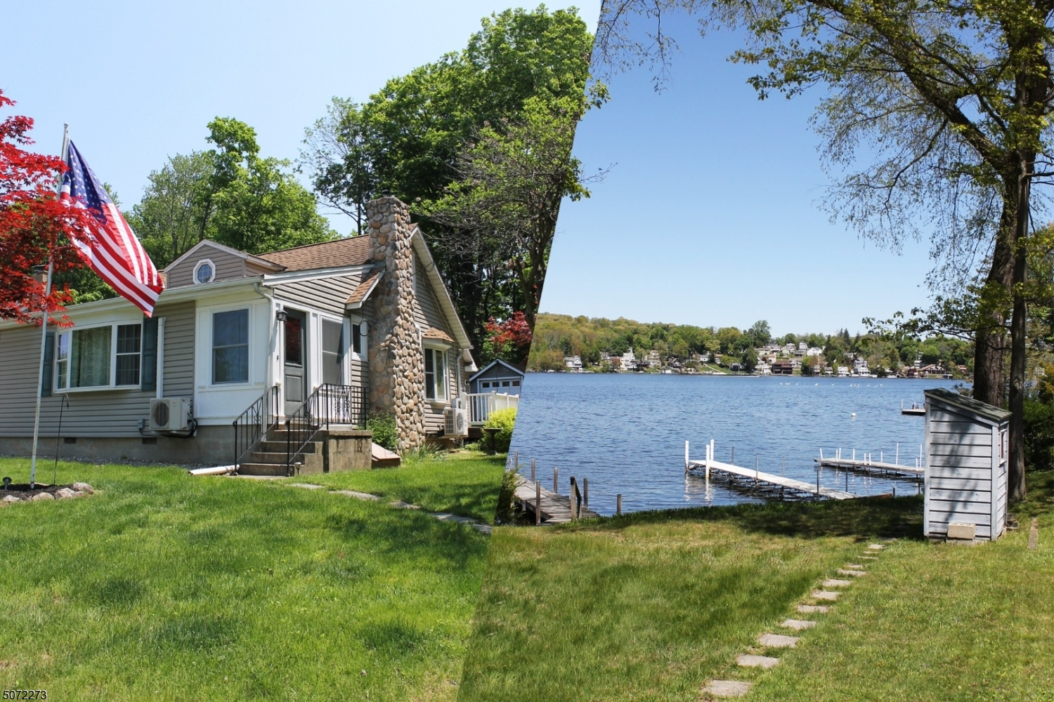 This home is across the road from the lake.  Included is a lake front lot with a dock.