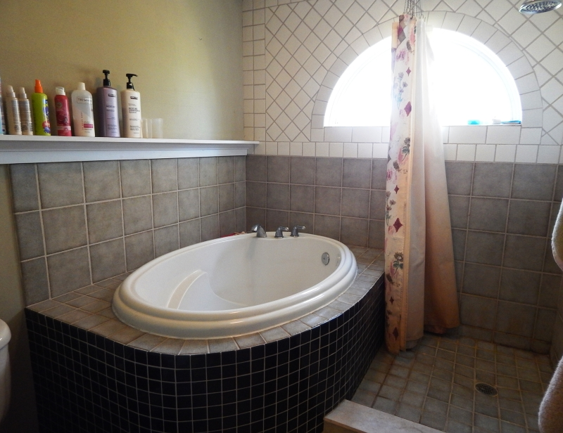 Soaking Tub and tiled shower