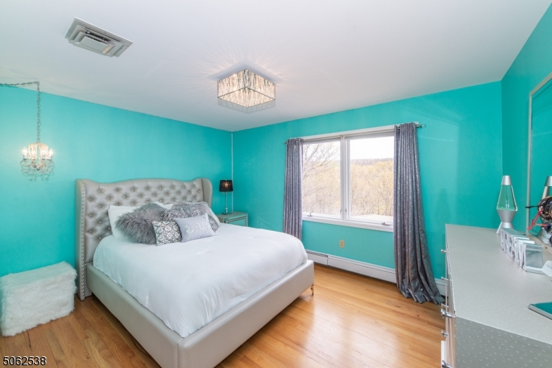 Large bedroom with great closet space, hardwood floor overlooking mountains and lake